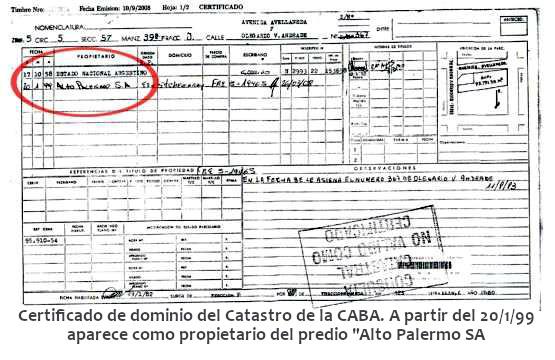 """Certificado de dominio del Catastro de la CABA. A partir del 20/1/99 aparece como propietario del predio """"Alto Palermo SA"""