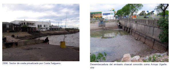 2006. Sector de costa privatizado por Costa Salguero. Desembocadura del emisario cloacal conocido como Arroyo Ugarte-che