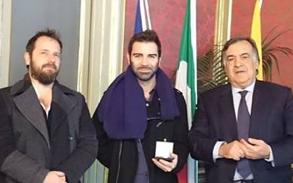 L'assessore alla Cultura Andrea Cusumano, Giulio Potenza ed il sindaco Leoluca Orlando