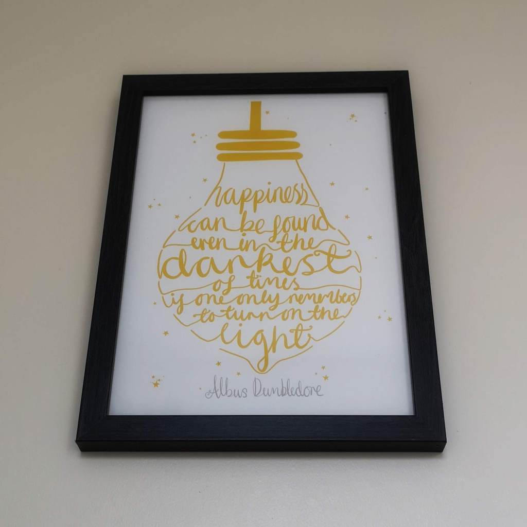 Me and my boyfriend love Harry Potter, I got him this quote print from Etsy for his birthday. The frame is just from Amazon and is a great way to bring a bit of Hogwarts Magic into the flat.