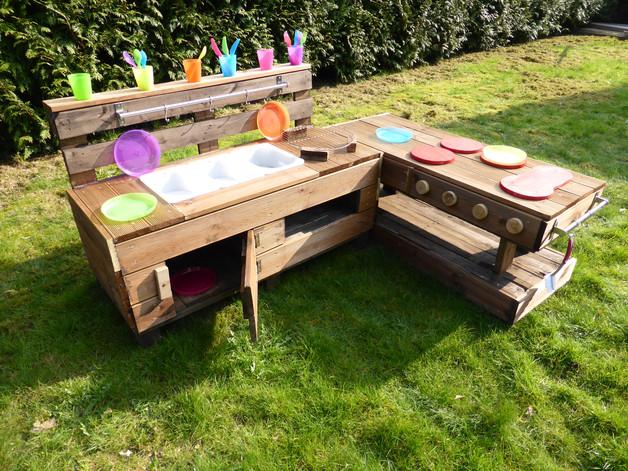 Outdoor Küche Kinder Paletten : Palettenmöbel kinderküche m aus holz für garten palettery