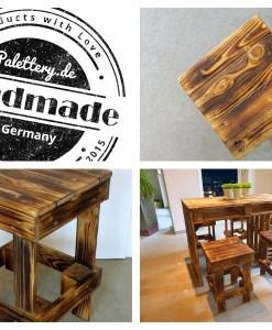 Palettenmöbel Sitzgruppe – Paletten Tisch & Hocker 3