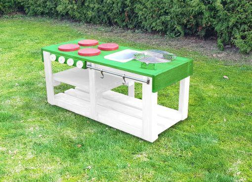 Kinderküche Matschküche 360 Grad aus Paletten L - grün
