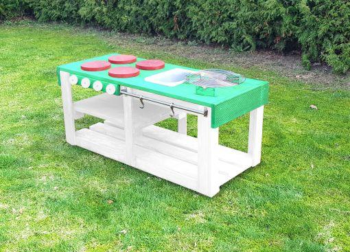 Kinderküche Matschküche 360 Grad aus Paletten L - mintgrün