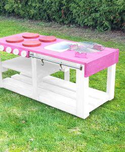 Kinderküche Matschküche 360 Grad aus Paletten L - rosa