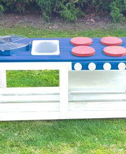 Kinderküche Matschküche 360 Grad aus Paletten - blau