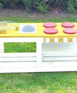 Kinderküche Matschküche 360 Grad aus Paletten - gelb