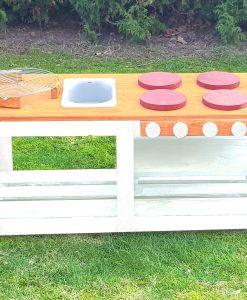 Kinderküche Matschküche 360 Grad aus Paletten - orange
