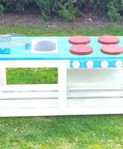 Kinderküche Matschküche 360 Grad aus Paletten - türkis