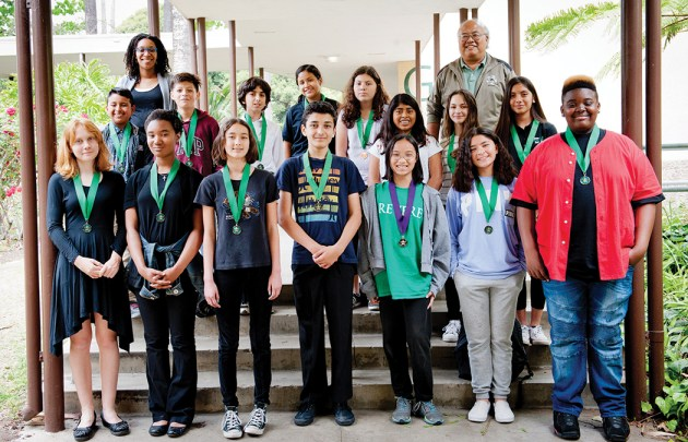 Members of the Paul Revere Acadeca Club: Front row, left to right, Alette Wells, Lena Jones, Paige Snepp, Majd Garmankani, Deanna Chun, Natasha Asamoa and Larry Smith. Middle row, left to right: Kevin Barrios, Alvin Carrillo, Michael Khojastegan, Ashley Ramos, Rachel Mejia, Jennifer Salvador, Eleanor Casparian and Francis Arellano. Back row, Assistant Principal Blakley Coe, left, and AcaDeca Coach Dennis Hamanishi.  Photo: Lesly Hall