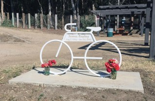 Although the bike in Temescal Canyon Park looks like a ghost bike memorial, this metal structure carved with the name James Rapley (a biker who was struck and killed by a motorist) is actually a bike rack.
