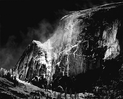 Half Dome, Blowing Snow, Yosemite National Park, California, circa 1955. Photograph by Ansel Adams. ©2016 The Ansel Adams Publishing Rights Trust