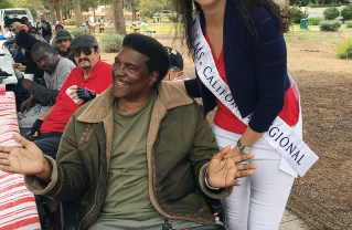 Ms. California Regional Marjan Rajabi visits with a veteran at the CalVet home on the West L.A. VA campus.