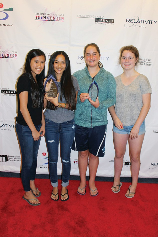 The filmmakers who won two major awards included (left to right) Tessa and Chloe Smigla, Rose Morris and Anna Cooper. Not pictured: Becca Whitaker and Kira Prudente
