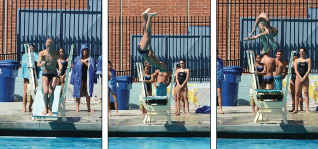 Asa Tatro maintains his focus as he practices a dive at the Maggie Gilbert Aquatic Center at Palisades High School. Tatro gains points from dives that includes twists and somersaults in the tuck and pike postions.