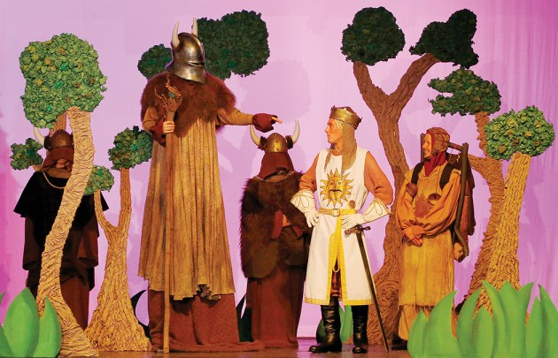 King Arthur (Max Vaupen, center) and Patsy (Charlie Hobert, right) meet the Knight of Ni (Ethan Egilsson, left) in the upcoming Palisades High production of Monty Python's Spamalot. Photo: Felix Massey