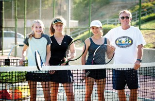 PaliHi freshmen Caleigh Crossman, Polina Zotenko and Alyssa Velky with coach Bud Kling.