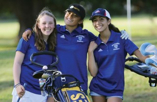 """(Left to right) Carly Weitz, Melanie Matayoshi and Camila Paleno are three key returnees for the up-and-coming PaliHi """"Golfin Dolphins!"""""""