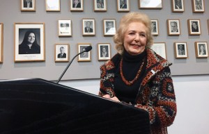 Pacific Palisades resident and philanthropist Mitzi Blahd speaks at an SMC Board of Trustees meeting. Blahd donated $1 million to the SMC Foundation in Professor Harvey Stromberg's honor.