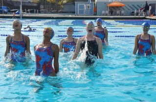 Synchronized swimmers practice at the Maggie Gilbert Aquatic Center at PaliHi.