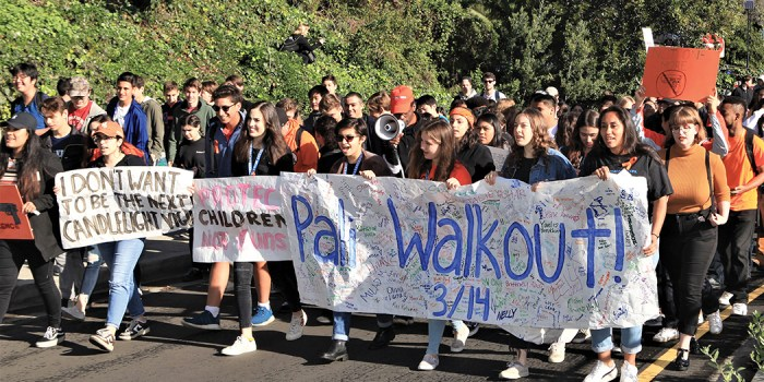 Palisades High School students staged a walkout to commemorate and support students in Parkland, Florida. Photo: Bart Bartholomew