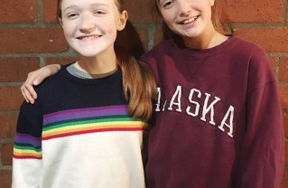 Lexie Palmer (left) and Tess Hubbard perform in Curious George.