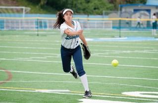 Pitcher Jasmine Pelayo-Najar hurls the ball in a win over Hamilton. Photo: Lesly Hall Photography