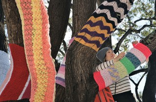 For the past four years, Michelle Villemaire has led yarn-bombing projects during National Woman's History Month to honor famous women. Photo: Bart Bartholomew
