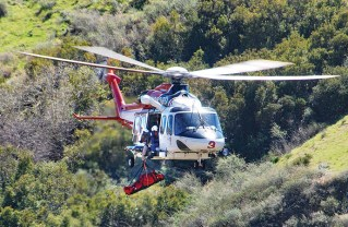 Air Ambulance Team lifts a distressed/injured hiker to safety. Photo courtesy of LAFD
