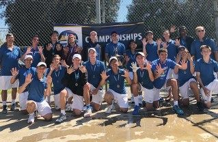 Members of the Palisades High boys tennis team celebrate their 10th straight City Section championship. At far right is head coach Bud Kling.