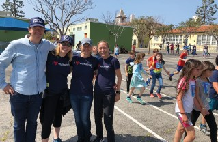 For 23 years, students at Palisades Elementary have participated in an annual walk-a- thon and fitness day. This year's organizers included (left to right) John Gibbons, Erin Armbrust, Jamie Ridgley and Gwendolen Twist.