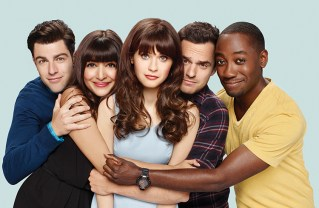 The New Girl cast includes (left to right) Max Greenfield, Hannah Simone, Zooey Deschanel, Jake Johnson and Lamorne Morris. Photo: Brian Bowen Smith/FOX