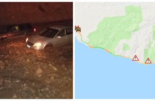 After mudslides Saturday night, the Pacific Coast Highway remains closed in both directions between   Las Posas Rd and Encinal Canyon Rd. Photos: Caltrans (Twitter).