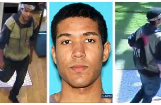 Los Angeles police have arrested Nicholas K. Oates, seen in security camera footage and mugshot, as a suspect in an active shooting scare that rattled Century City Friday. Photos: LAPD