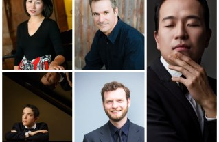 Clockwise from top-left: Tae Yeon Lim, Robert Thies, Sung Chang, Brendan White, Talon Smith, the five pianists who will perform all five Beethoven piano concerti in Santa Monica. Photos: Vicente Chamber Orchestra