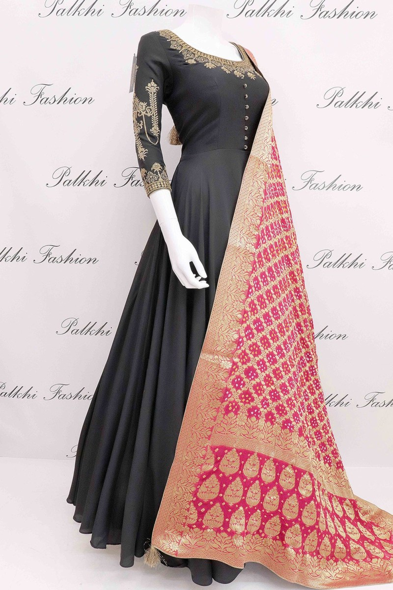 Elegant Black Pure Silk Designer Outfit with Bandhani Dupatta From Palkhi Fashion