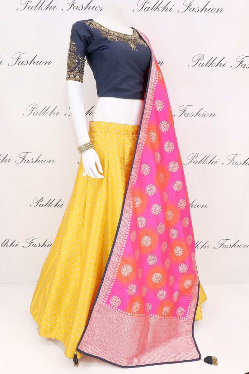Yellow Silk Lehenga Set With Beautiful Color Combination