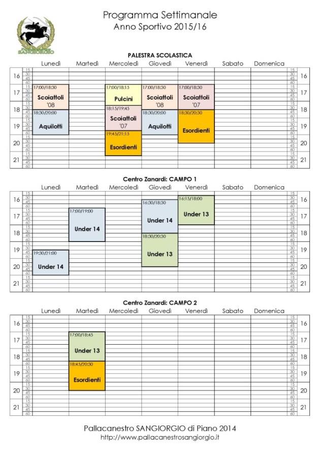 Orari Allenamento 2015-16