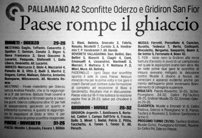 Il Gazzettino di Treviso del 29 ottobre 2015
