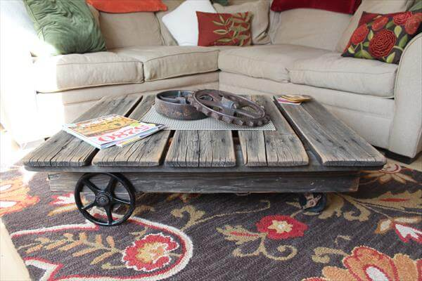 pallet coffee table with vintage wheels