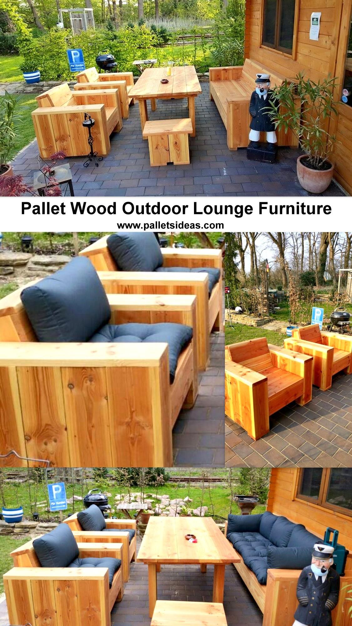 Pallet Wood Outdoor Lounge Furniture   Pallet Ideas on Backyard Lounge Area Ideas id=28394