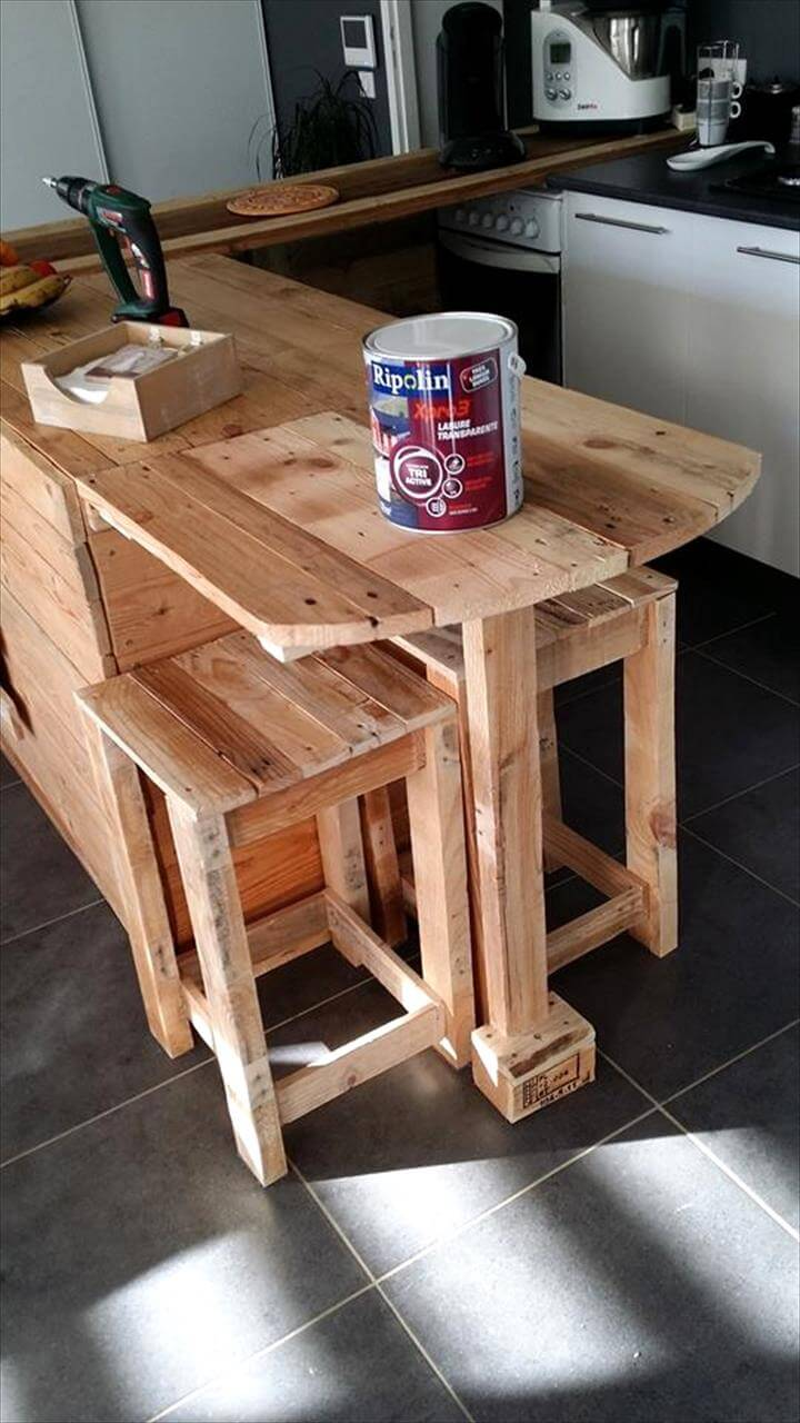 Pallet Kitchen Counter With Breakfast Table Amp Storage