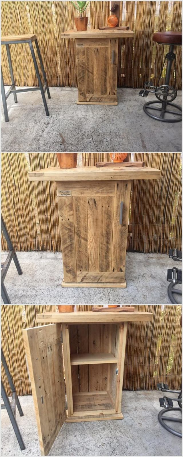 Mini Pallet Bar Table with Cabinet