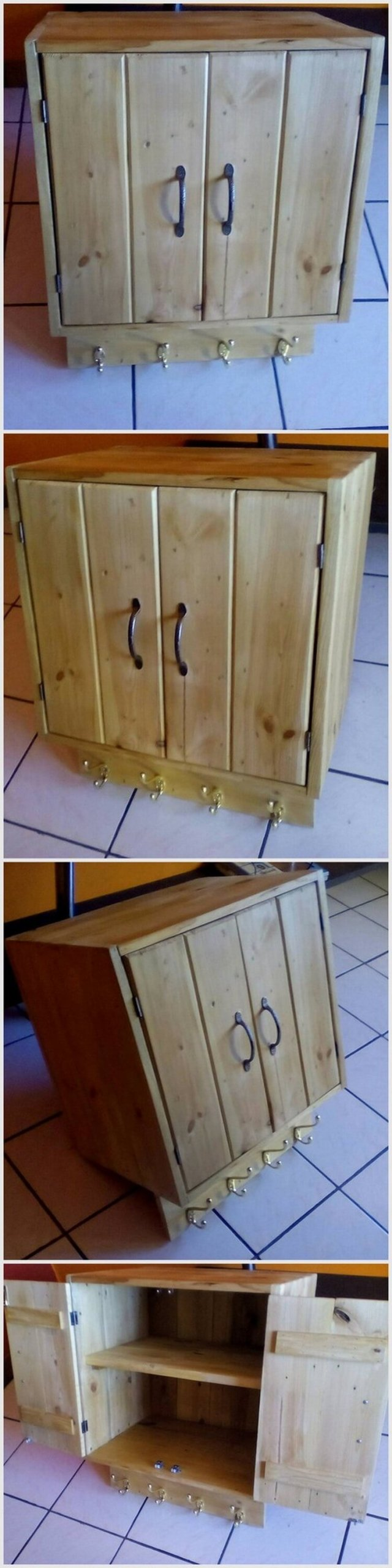 Pallet Cabinet with Coat Hanging
