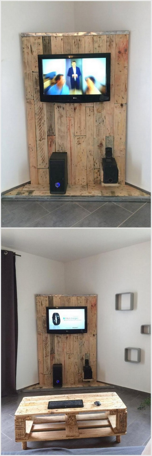 Pallet Wall LED Holder and Table