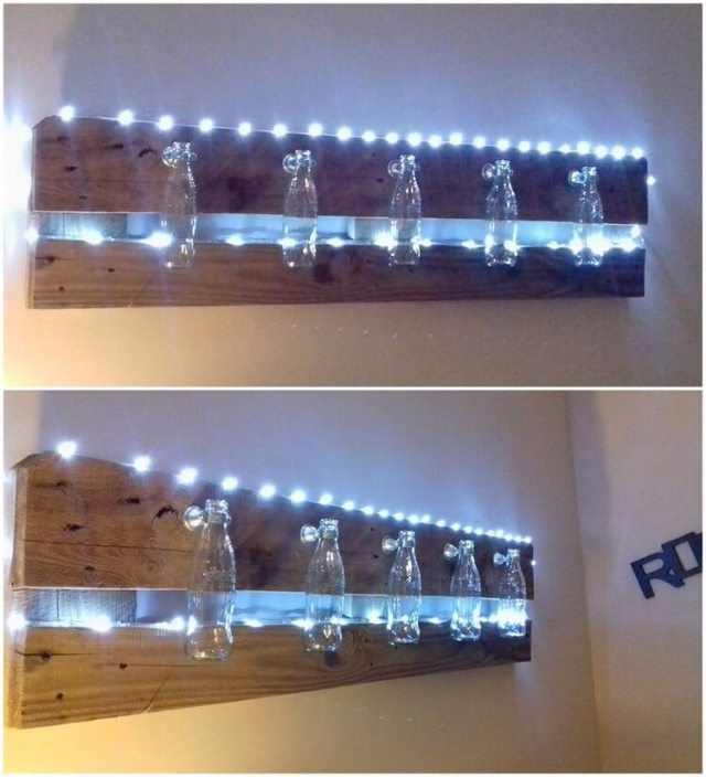 Pallets and Glass Bottles Wall Decor