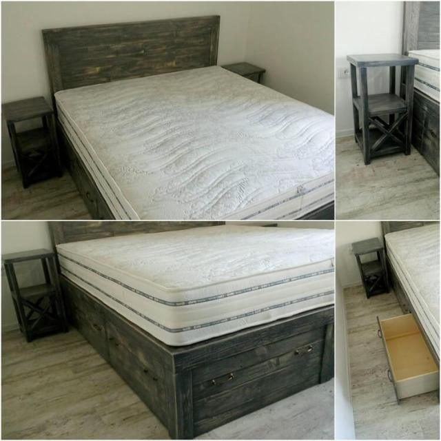 Wood Pallet Bed with Side Table and Storage Drawer