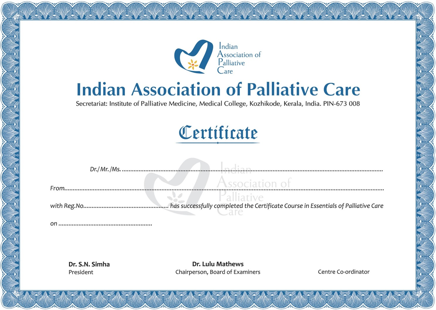 Blank IAPC certificate , results of June 2014 certificate course