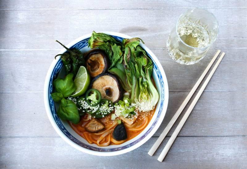 Thai noodle soup and wine