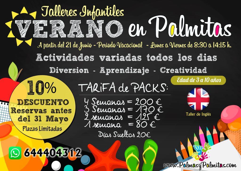 Talleres de verano infantiles 2019 Palmas Palmitas